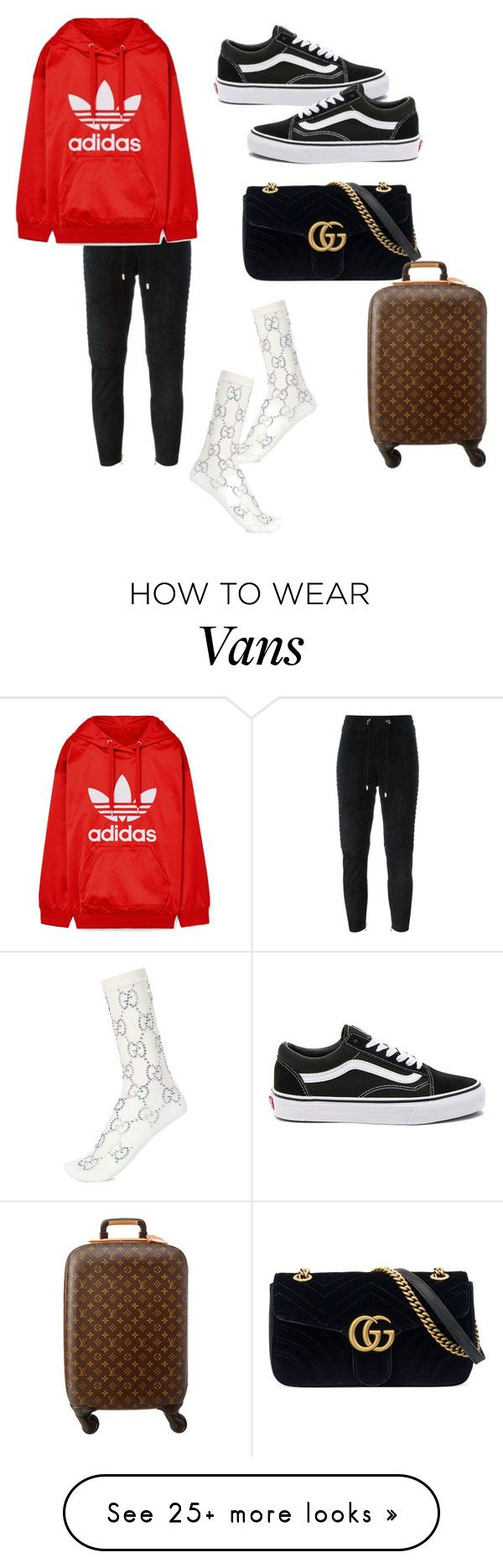 """Untitled #485"" by liloham on Polyvore featuring Balmain, adidas Originals, Vans, Gucci and Louis Vuitton"