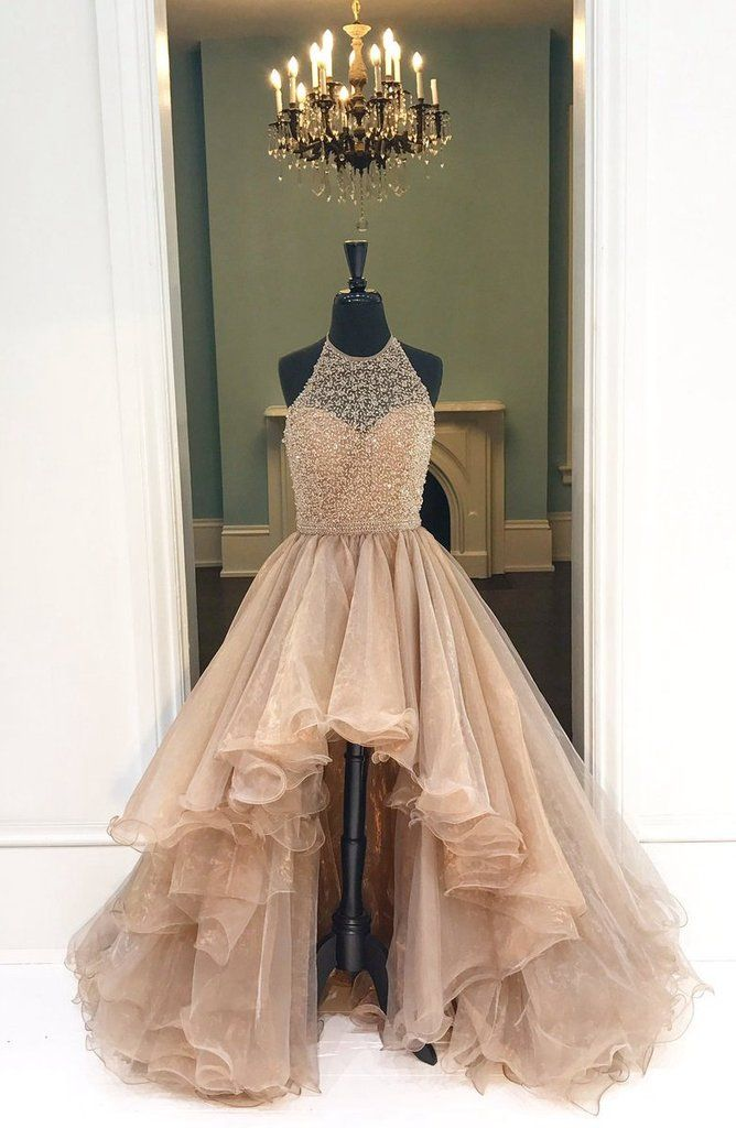 Halter High-Low Beaded Prom Dress Party Ball Gown Dress for Prom pst1556