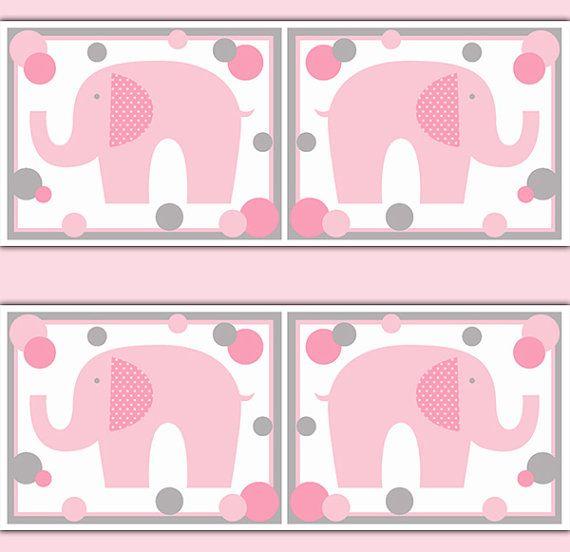 ELEPHANT NURSERY DECAL Wallpaper Border Pink Grey Gray Girl Safari Animal Wall Art Baby Decor Children's Jungle Bedroom Stickers Kids Room #decampstudios
