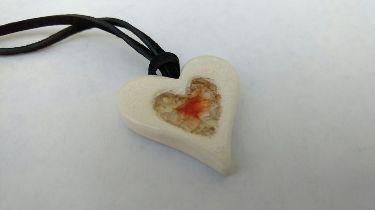 Stoneware and red glass pendant - SM Pottery