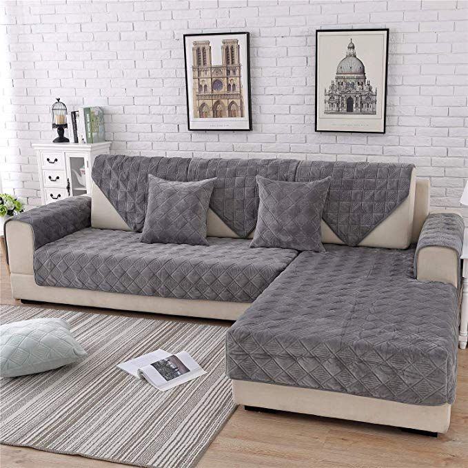 Ostepdecor Quilted Sofa Cover Velvet Couch Cover L Shaped Sectional Couch Covers Leather Sofa Slipcover For Dogs Cats Pet Love Seat Recliner Dark Grey 36 X Sectional Couch Cover Cool Couches