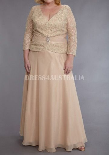 Long Sleeves Lace Top Chiffon Floor Plus Size Evening Dress / Prom Dresses/ Mother of The Bride Dresses