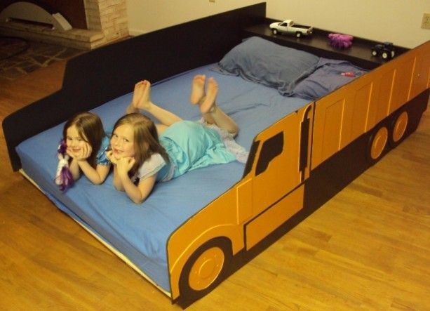 Kids room or boys room a truck bed a dump truck full double bed handcrafted truck bed - Dump truck twin bed ...