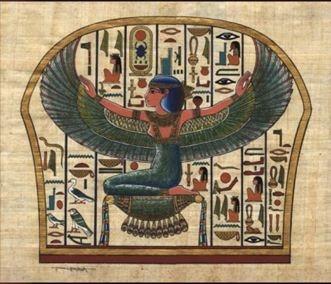 Isis  이세트를 그리스어로 번역한 말.  대지의 신 게브 + 천공의 여신 누트 -> 딸이며 오빠인 오시리스의 아내 -> 호루스를 낳음. 오시리스는 동생 세트 (악의 신) 의 손에 죽음.  갈가리 찢긴 오시리스의 유해를 찾아내어 매장함. 자식 호루스를 온갖 고난으로부터 보호 + 양육한 일 -> 아내와 어머니의 본보기가 되는 여신. 이시스 신전은 나일 강의 진주라 불릴 정도로 아름다운 건물이다. 그리스 사람들은 데메테르, 헤라, 셀레네, 아프로디테와 이시스를 동일하게 본다.  이시스는 생명, 풍요, 사랑의 여신이다. 소의 뿔 사이에 태양의 원반을 얹은 관을 쓴다. 전설에서 제비가 되어 오시리스가 있는 곳을 찾아 날아다녔다는 이야기가 있어, 날개를 펼친 모습도 묘사가 된다.
