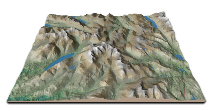 Enhanced from V1.2 with rivers, lakes and roads.    Not that anybody has commented on the others (except Alan - many thanks Alan!), I think its OK to let it slip that its the Lake District (well, part of it).  QGis2threejs doesn't seem to like it when I zoom out to the area as a whole.  Oh well, I'll just have to learn another way of doing it... #alwayslearning  Have to remember that the data is fairly lo-res, so there may be some errors.  The vector data (roads, lakes, rivers) is also from…
