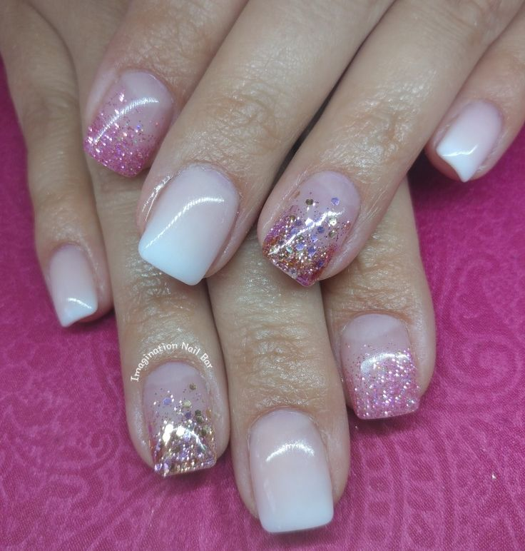 Faded french with glitter nails.  Rosegoldglitter