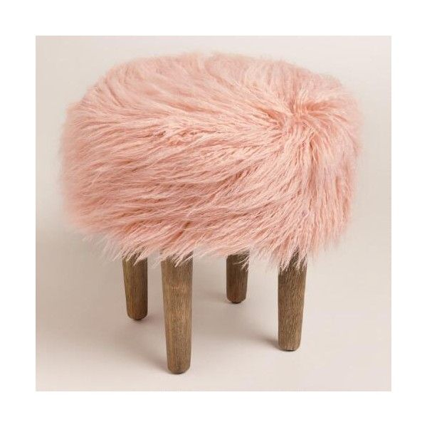 Cost Plus World Market Blush Flokati Stool ($80) ❤ liked on Polyvore featuring home, furniture, stools, faux fur stool, cost plus world market and cost plus world market furniture