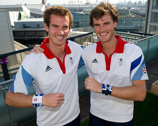 Tennis players Andy Murray and Jamie Murray of Great Britain