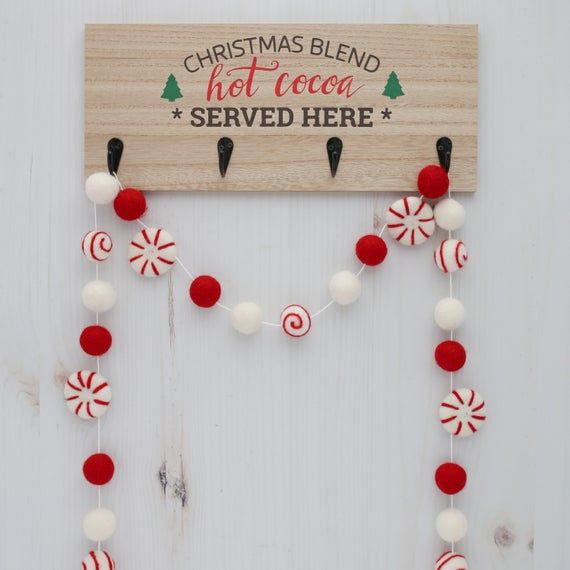 Christmas Decor Peppermint Christmas Garland Christmas Banner Felt Peppermint Balls Felt Ball Garland Peppermint Candy Garland
