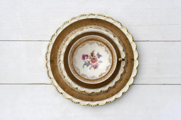Ornate Scalloped Edged Gold and Pink Floral German Teacup Trio Set by CirceCollectables