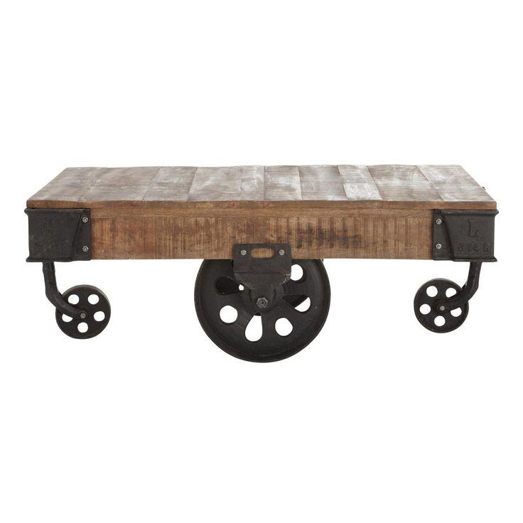 Mesa baja con ruedas de estilo industrial COLORADO