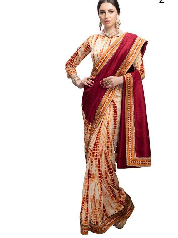 Alluring Cream and Pink Designer saree