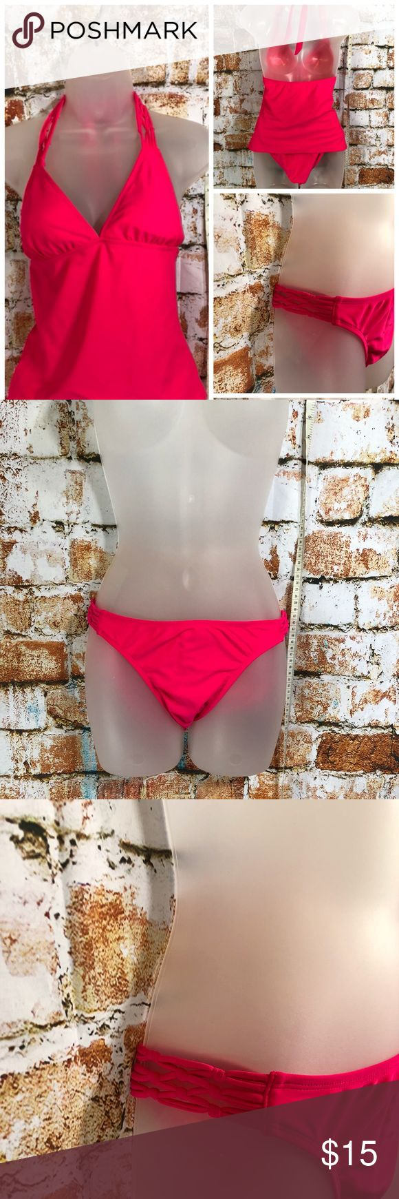NWT Bikini Bottom You'll look hot in these hot pink bikini bottoms that feature a lattice side.  Matching halter tankini top available in separate listing. Old Navy Swim Bikinis