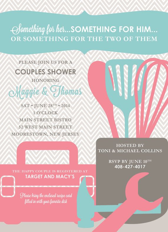 Tool & Kitchen Couples Shower Invitation with Recipe by kreativees