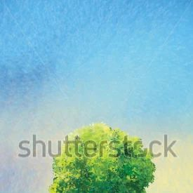Tree on a green meadow and light blue sky, Summer Holiday landscape, Green tree, green grass, sky. Digital drawing. For Art, Print, Scrapbook, Web design.
