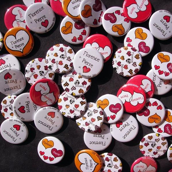 Badges mariage personnalisés    Florence & Pierre