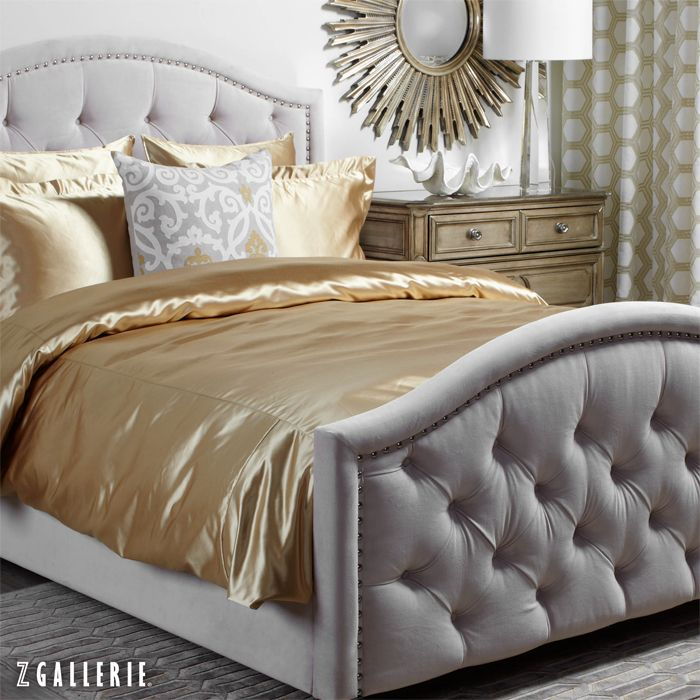 Mix metals using gold, champagne and grey for one effortlessly elegant look.  I wonder if I could convince the husband that we need gold bedding... and a new bed! I'd feel like a queen every night. :)