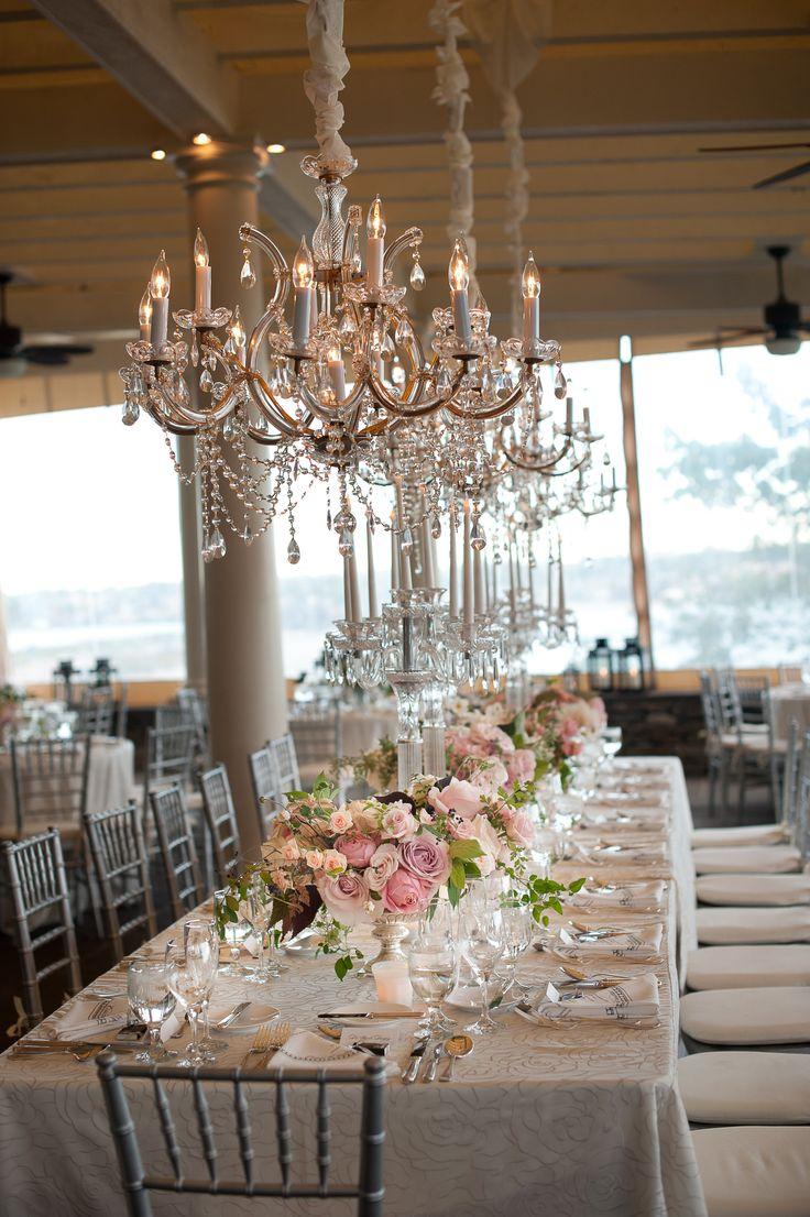 #tablescapes, #chandelier  Photography: Grazier Photography  - grazierphotography.com/  Read More: http://www.stylemepretty.com/little-black-book-blog/2014/06/09/elegant-chanler-at-cliff-walk-wedding/