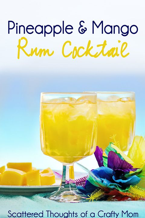 Pineapple and Mango Rum Cocktails (This recipe makes 6 drinks, so divide it up if you need too) Ingredients: 2 cups, plus 1/2 mango cut into slices with skin, for garnish 4 ounces golden rum (I used coconut rum, it was delicious!) 4 cups pineapple juice Puree mangoes, rum, and 1/2 cup water in a blender. Pour 2 ounces puree into each of six 12-ounce glasses. Fill glasses with ice, and top off with pineapple juice. Garnish with sliced mango. Enjoy!