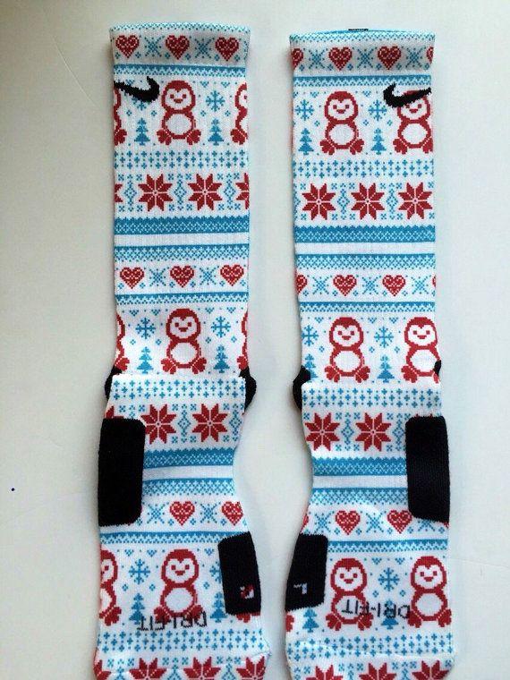 Holiday Penguin Nike Elites by LeagueReady on Etsy