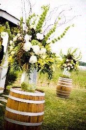Wine Barrels!!!!Decor, Outdoor Wedding, Ideas, Wine Barrels, Whiskey Barrels, Flower Arrangements, Floral Arrangements, Barns Wedding,  Flowerpot