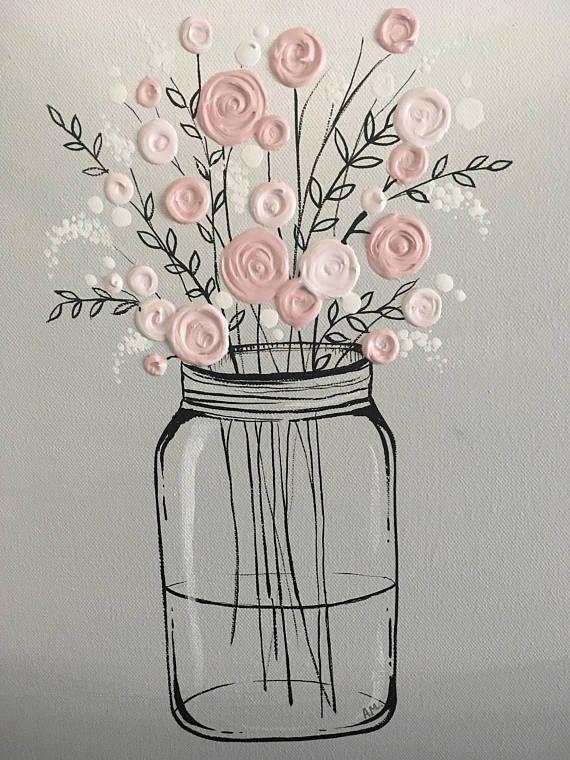 Einmachglas-Blumen-Kunst, einzigartiges Geschenk für sie, rosa und graue strukturierte ursprüngliche Acrylmalerei auf dem Segeltuch, bereit zu versenden