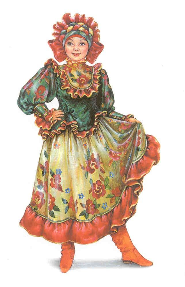 """A stage costume in the style of the Russian handicraft """"Zhostovo"""". A postcard…"""