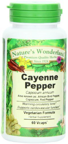 Nature's Wonderland Cayenne Pepper , Vegetarian Formula.675 mg, 60 Capsule Bottle - http://alternative-health.kindle-free-books.com/natures-wonderland-cayenne-pepper-vegetarian-formula-675-mg-60-capsule-bottle/