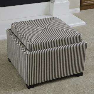 Andrea Dark Coffee Stripe Fabric Tray Top Storage Ottoman