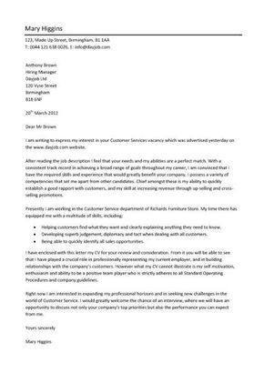 Resume Cover Letter Examples for Customer Service