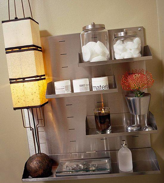 22 Bathroom Storage Ideas. Adjustable Shelves.: Small Bathroom, Bathroom Organizations, Bathroom Inspiration, Bathroom Wall, Bathroom Storage Shelves, Bathroom Ideas, Bathroom Shelves, Storage Ideas, Stainless Steel Organizations