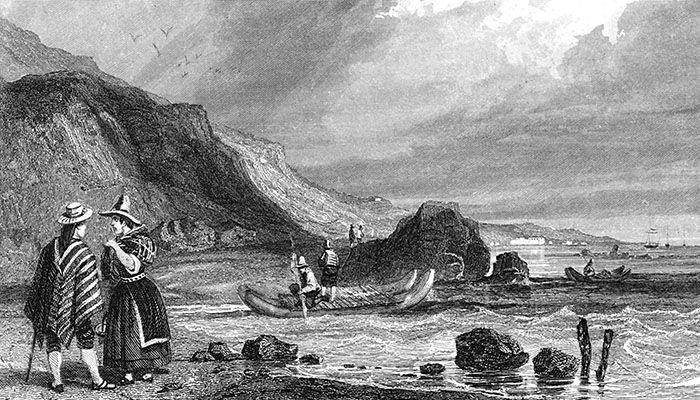 Changos del siglo XIX navegando en una balsa de cuero de lobo de grandes proporciones. {grabado de R. A. Philippi, 1860).
