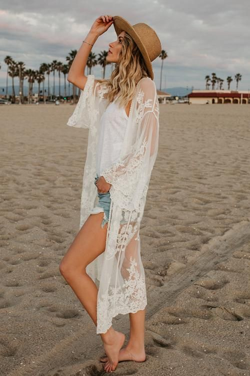 Beach Side Lace Kimono in 2020 | Lace kimono outfit, White lace kimono, Kimono beach cover up