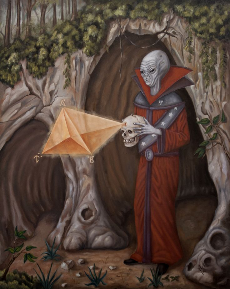 """""""Skulls's Code"""" 16x20 oil on panel 2016. A common depiction of a Zeta Reticulan science-mage exploring the mysteries of a prehistoric human skull recently excavated from the Earth."""
