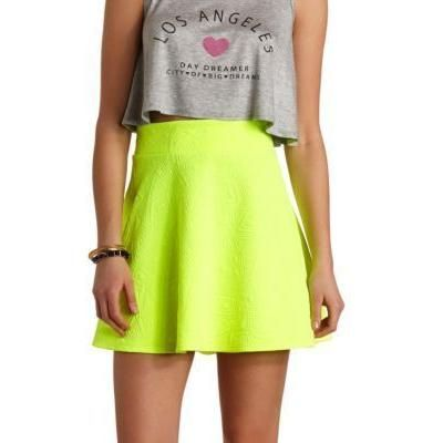Green-Yellow Skater Skirt by Charlotte Russe. Buy for $18 from Charlotte Russe