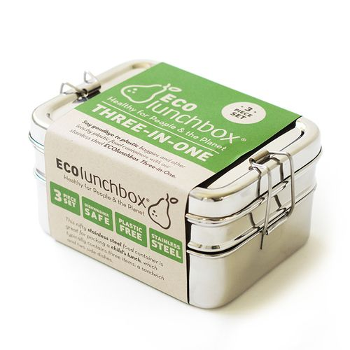 Top saved Pin for eco-friendly lunch boxes: ECOlunchbox Three-In-One stainless steel bento-style lunch box is plastic-free and healthy for people and the planet.