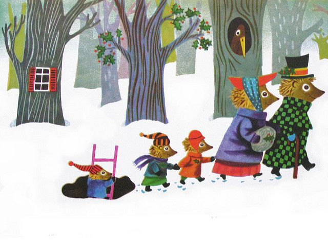 """""""Then arm in arm, the Hedgehog family hurried through the snowy twilight, heading for the lights of London town, and the wonderful Christmas sights they would see."""" (Richard Scarry)"""
