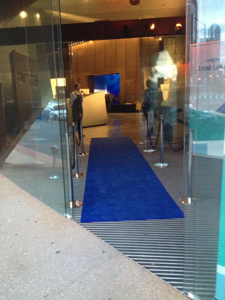 Royal Blue Carpet Runner At A Corporate Event Entrance