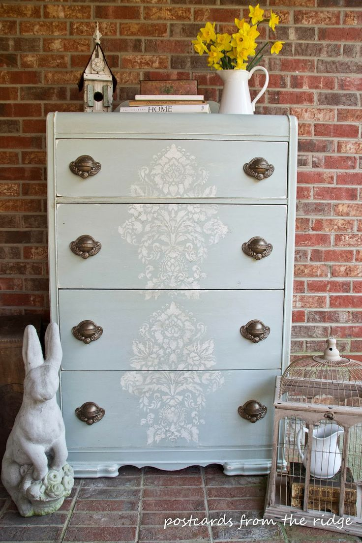 Stenciled Old World Chest Of Drawers   Furniture Pattern And Paint