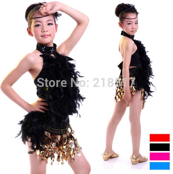 110-130センチ子供キッズスパンコール羽フリンジステージパフォーマンス女の子競技社交ダンス衣装ラテンダンスドレス
