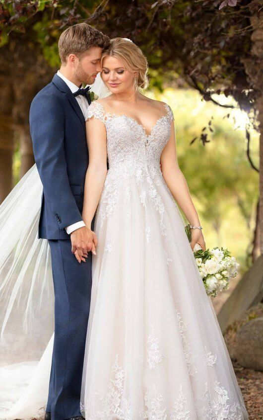 1e6bf9dbcb515 D2603 Romantic Ballgown with Off-the-Shoulder Cap Sleeves by Essense of  Australia