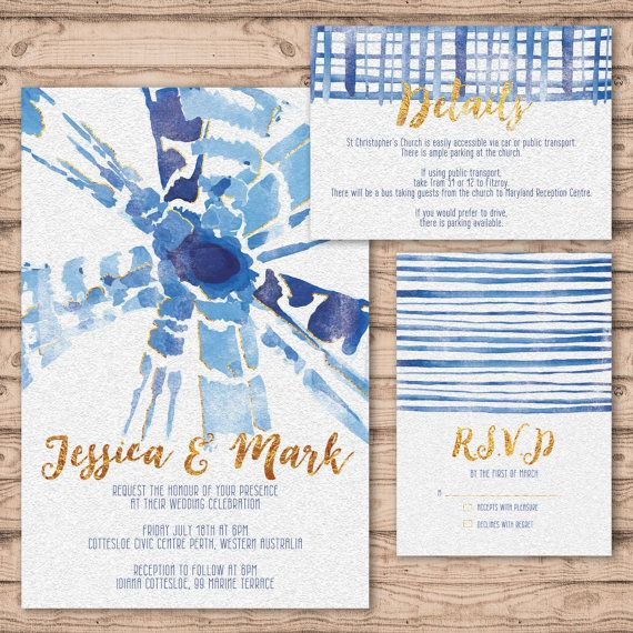 Shibori Wedding Invitation Suite - Print at Home Files or Printed Invitations -Shibori Personalised Wedding Invite Suite