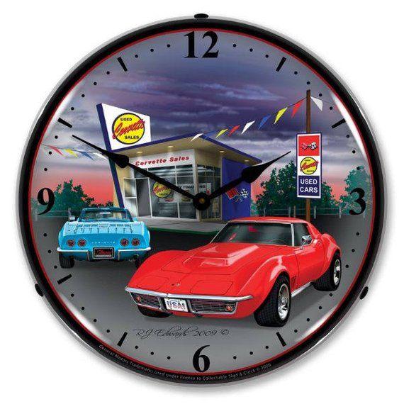 Antique Style 1968 Corvette Backlit Clock 129 99 Corvette Corvette Clock Corvette Stingray