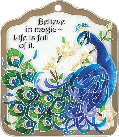 Inspirational Peacock-Decorative Hand-Painted Hanging-Tile, by Joan Baker