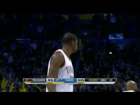 Durant Fired Up! Drops 11 Points in Last 3:30 for Comeback Win Over Blazers #KD #NBA