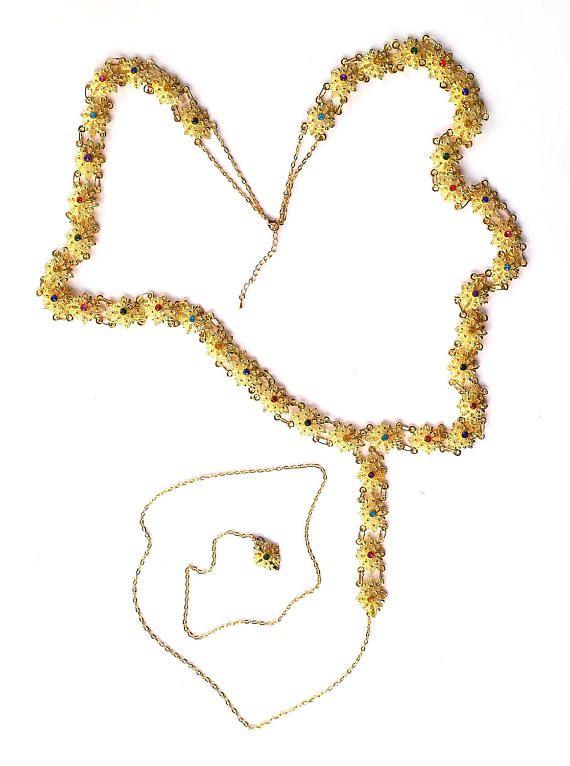 Adjustable MEDIEVAL Gold-Tone Star Flower Medallion Tudor BELT SCA Re-enactment