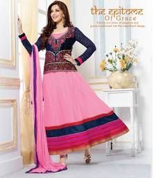 Buy Sonali Bendre Georgette Pink & Blue Zari Work Semi Stitched Long Anarkali Suit By Fabfiza bollywood-salwar-kameez-online online