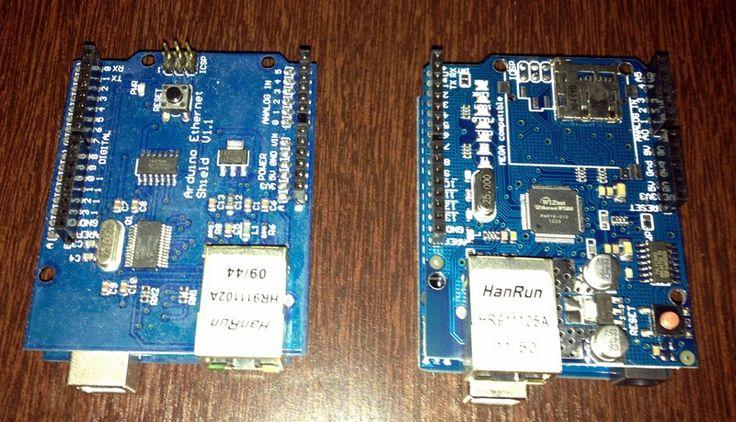 Ethernet Shield para Arduino, com Arduinos UNO e shields ENC26J60 e WIZ 5100