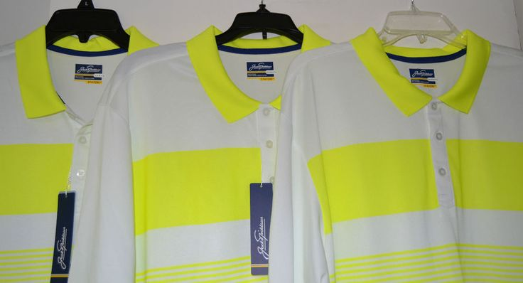 MEN`S JACK NICKLAUS STAYDRI WHITE & YELLOW POLO GOLF SHIRT SIZES: L, XL, 2XL NWT #JackNicklaus #PoloShirt