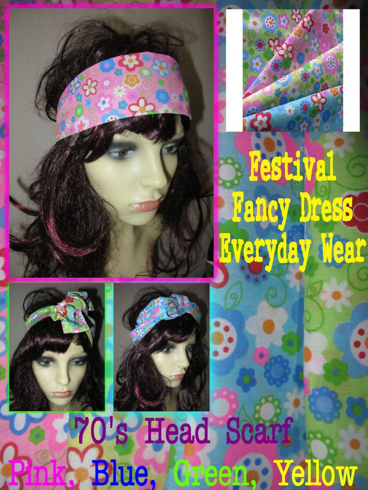 70s Hippy fancy Dress,flower power head scarf, rockabilly head wrap festival fun #Unbranded #Hairaccessory